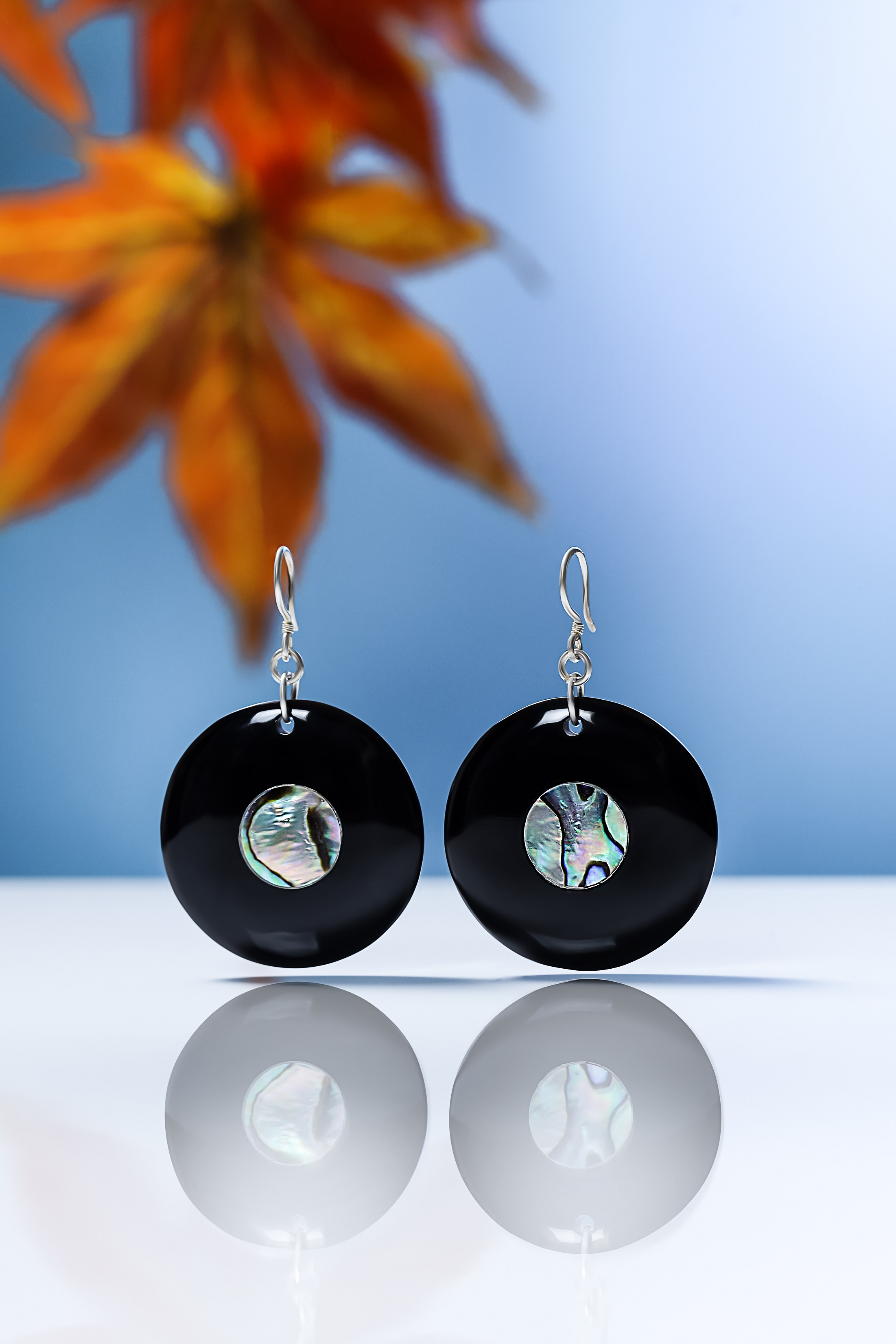 Buffalo horn earrings with Abalone mosaic